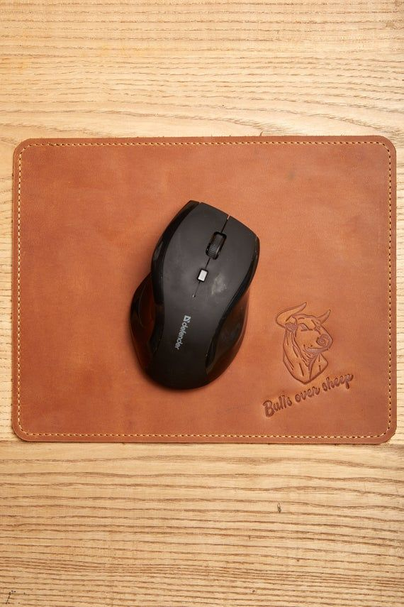 Brown Leather Mouse Pad With Personalization Large Square Mousepad Leather Desk Blotter Personalized Cubicle Accessories Cute men gift