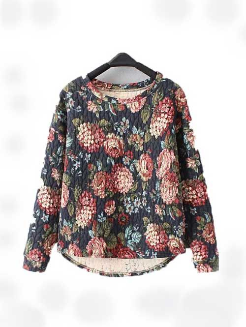 Hot sale flower printing irregular design women sweatershirt BD-X7576