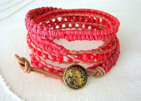 Macrame Leather Wrap Bracelet With Beads and Gold by MaisJewelry