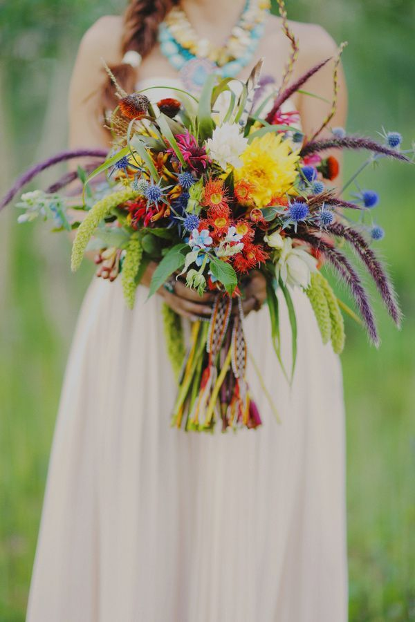 bridal bouquet with blue thistle, rattail status, dahlias, eucalyptus blooms - Deer Pearl Flowers