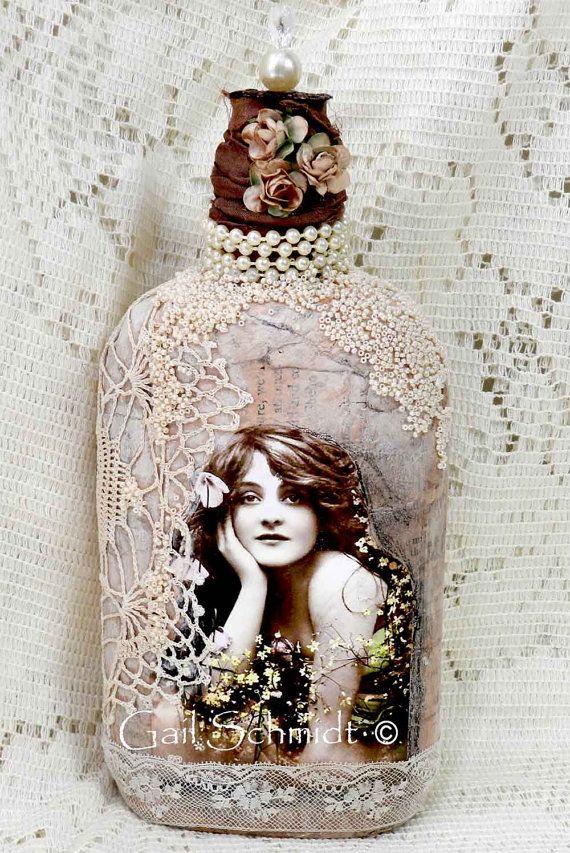 Altered Art Bottle, Shabby Cottage Chic Art Bottle
