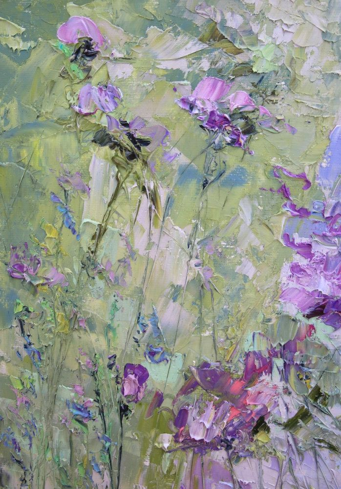 Wind. The strictness of the rules. Melancholy aristocrat. Oil Painting Impasto Russian abstract art. Green, blue, Mauve, marsh, white flower. Marina Matkina от ForestSandandAir