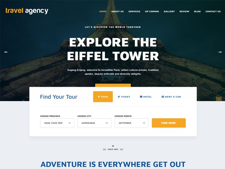 Travel Agency – Travel Free HTML Template is one of the best travel & tour booking templates. It's suitable for companies and agencies that provide hotel, car rental, flight, cruise and tour booking services. You will have tons of color skins, layout possibilities with unlimited variations and colors.