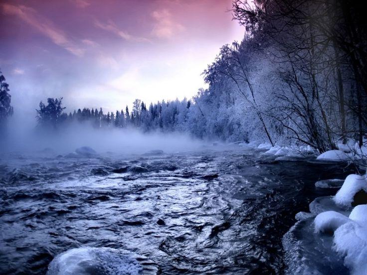 Río en invierno. Protector de pantalla.