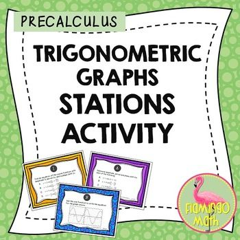 PreCalculus Trigonometric Graphs Task Cards ActivityThis activity is designed to help your PreCalculus students with graphing translations for sine and cosine functions. There are 8 station cards in the activity. Print each task card and laminate for durability, or place each question in a clear sheet protector.
