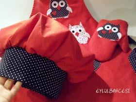 Ƹ̵̡Ӝ̵̨̄Ʒ eylulbahcesi hand craft Ƹ̵̡Ӝ̵̨̄Ʒ: Çift Taraflı Baykuş Aplikeli Mutfak Önlüğü