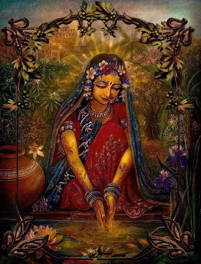 By Varsana Swami Srimati lifted up Her skirt and stepped into the water and looked down to wash Her hands. And then, when She saw Her reflection in the water, She was overcome by its beauty. She wa…