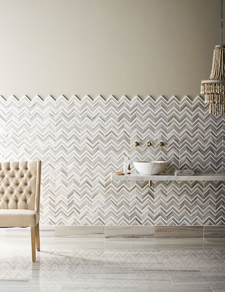 'Pyrenees' Honed/Polished Chevron Marble Mosaic Tiles | Mandarin Stone