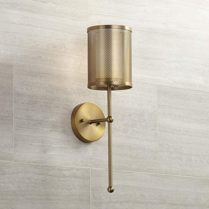 Possini Euro Vivaldi 21 High Warm Brass Wall Sconce 24m91 Lamps Plus In 2020 Brass Wall Sconce Sconces Wall Lights