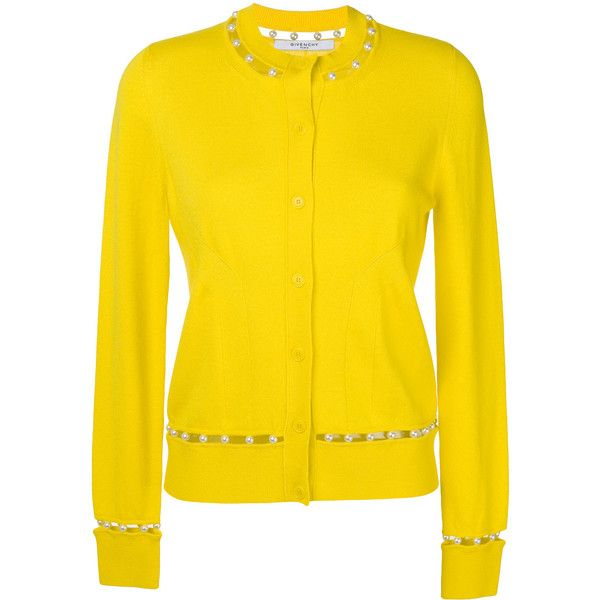 Givenchy faux pearl trim cardigan ($1,230) ❤ liked on Polyvore featuring tops, cardigans, slim fit cardigan, stitch top, embellished long sleeve top, yellow long sleeve top and cut out long sleeve top