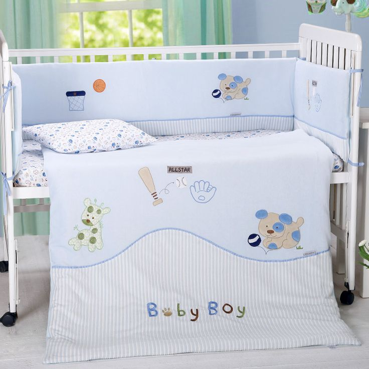 7 pc Baby infant quality bedroom nursery bedding set cotton velvet animal embroidery newborn baby cot bedding set summer blanket