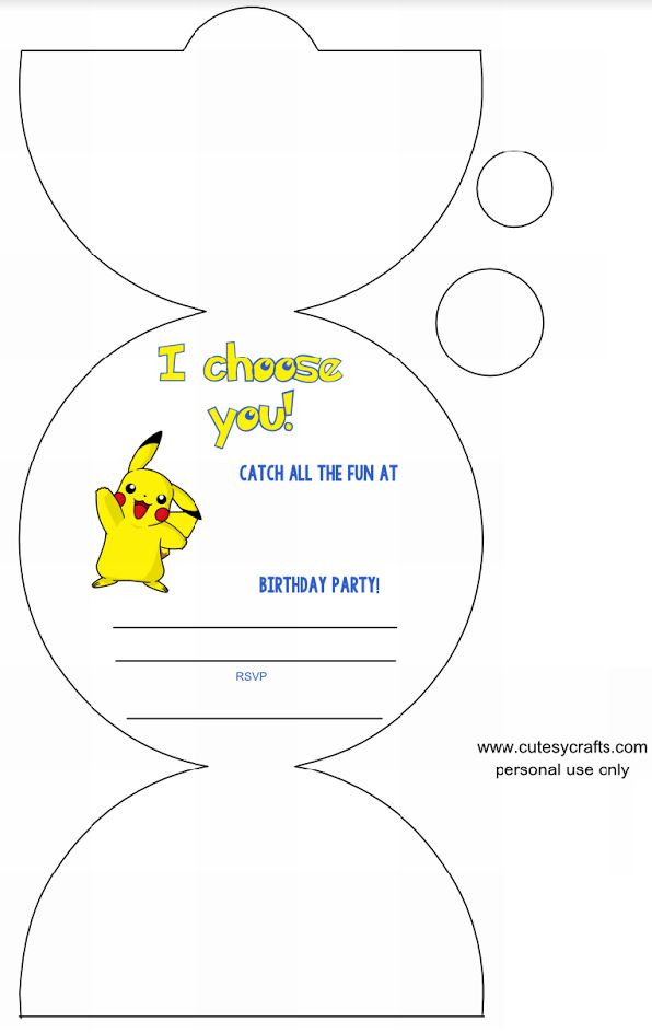 2 of 4--- http://cutesycrafts.com/2015/08/pokemon-birthday-party-invitations-with-free-silhouette-cut-file.html