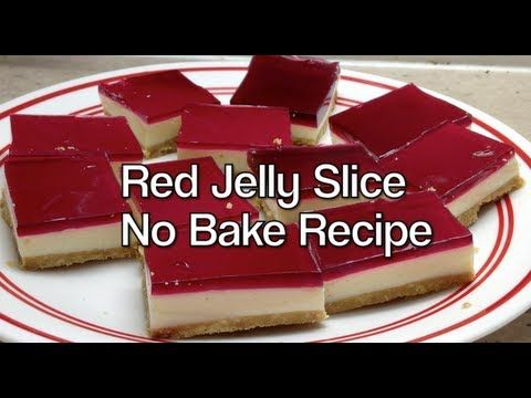 Video Recipe for Easy No Bake Red Jelly Slice. Made using The Thermochef. You really have to try this luscious, cool fruity, creamy, crisp based, brightly coloured dessert. INGREDIENTS: 225 grams milk coffee or arrowroot sweet biscuits 20 grams powdered gelatine 175 grams melted butter 395 gram can sweetened condensed milk 85 grams packet of...