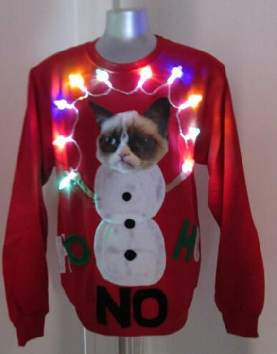 3f8bc65980a2d2 Ugly Christmas Sweater Grumpy Cat Lights up Size Large Xlarge Office  Christmas Party Winner SHIPS in 48 HOURS or LESS