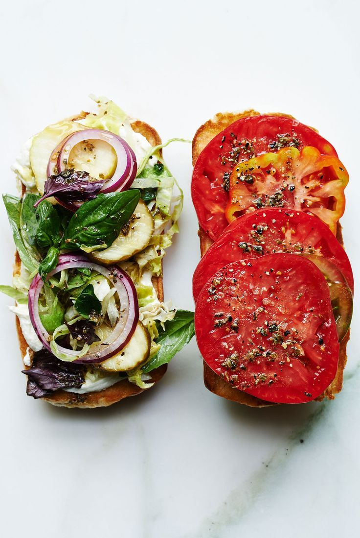 There's nothing wrong with a regular tomato-and-mayo sandwich, but this shredded lettuce and Italian vinaigrette masterpiece is worthy too.