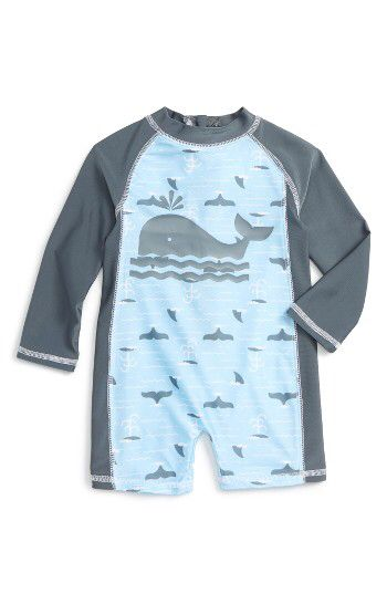Sol Swim Sol Swim Whale of a Time One-Piece Rashguard Swimsuit (Baby Boys) available at #Nordstrom