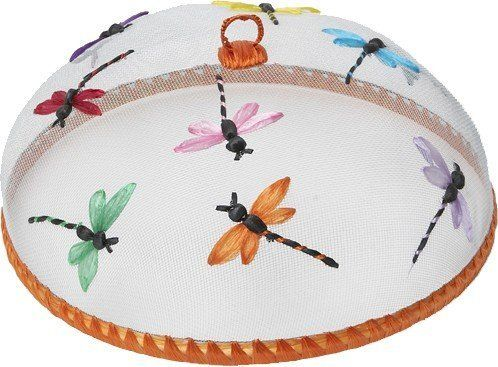 """Woodard & Charles Dragonfly Food Dome WDS 015 by Woodard & Charles. $9.99. Woodard & Charles Dragonfly Food Dome WDS 015hand-crafted food dome keeps food pest-freefeatures embroidered dragonfly motif measures 14"""" x 5.5"""". Made in the Phillipines."""