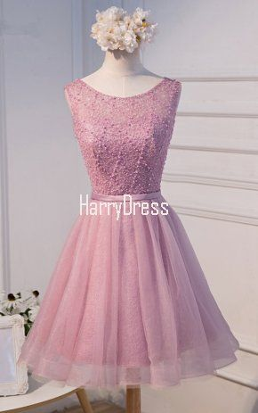 Pink Sparkly Short Scoop Neck A Line Beading Crystals Detailing Backless Homecoming Dress