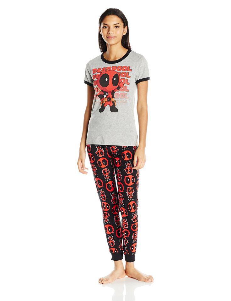Marvel Women's Deadpool Kawaii Tee and Jogger Set, Heather/Black, X-Large