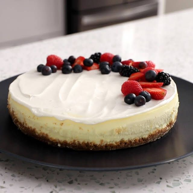 New York Style Cheesecake Without Sour Cream Recipe Yummly Recipe In 2020 Sour Cream Recipes Cream Recipes Sour Cream
