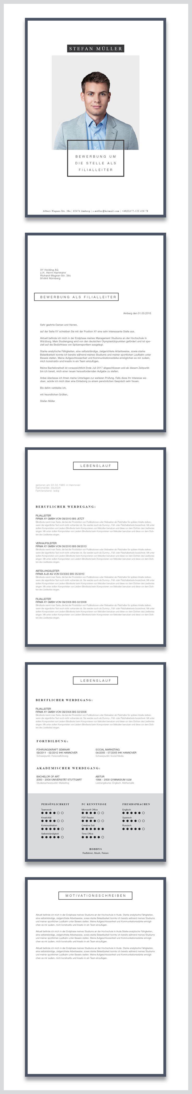 """Unsere Bewerbungsvorlage (cv template) """"Minimal Art"""" in der Farbe Deep Blue. Zeigen Sie mit dem minimalistischen Design unserer Vorlage """"Minimal Art"""", dass sie modern leben und es auch gerne zeigen. Sie erhalten von uns ein Deckblatt, Anschreiben, Lebenslauf, Motivationsschreiben. Die Datei bekommen Sie als fertige Pages- oder Word-Datei inklusive Platzhaltertext mit Hinweisen. #grafikdesign"""
