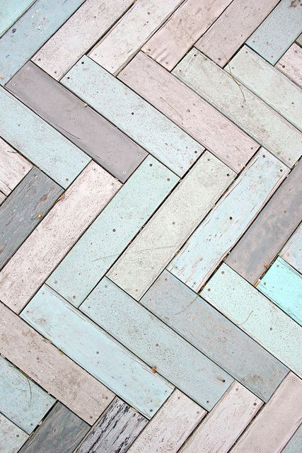 peeling paint on wood - pastel herringbone boardwalk | AmandaFiske on Flickr