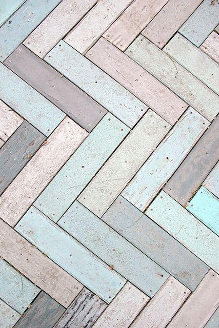 peeling paint on wood - pastel herringbone boardwalk   AmandaFiske on Flickr
