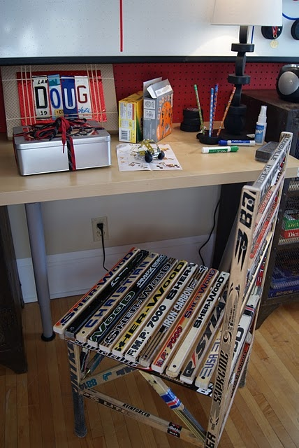 Chair made from hockey sticks.
