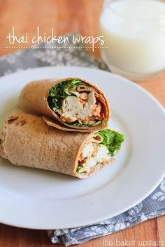 Thai chicken wraps - so healthy, easy, and delicious! www.thebakerupstairs.com