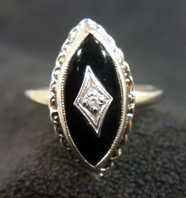 Vintage 925 Sterling Silver Genuine Diamond Amp Black Onyx