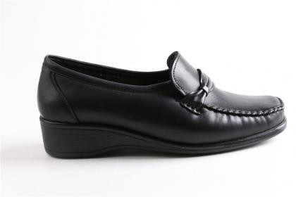 Legend - Kadın Siyah %100 Hakiki Deri Ortopedik Poli Taban Ayakkabı