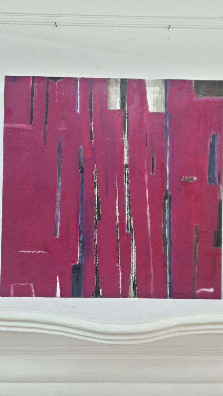 Autor: Marcelo Ortúzar R 80 x 80 cm. Oleo sobre tela. Sinfonia en carmin. 2016