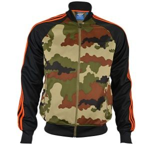 adidas Originals Street Superstar Camo Track Top - Men's - Hemp Camo Print/Black/Collegiate Orange