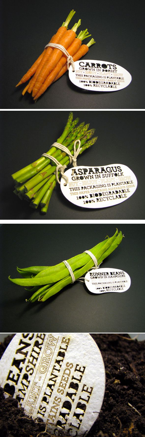 "Packaging par Ben Huttly : un emballage ""à planter"" 100% biodégradables"