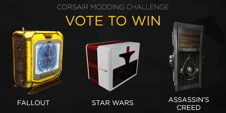 One lucky voter will win the modded Corsair PC of their choice! Two more voters will win the Corsair keyboard, mouse, and headset of their choice!