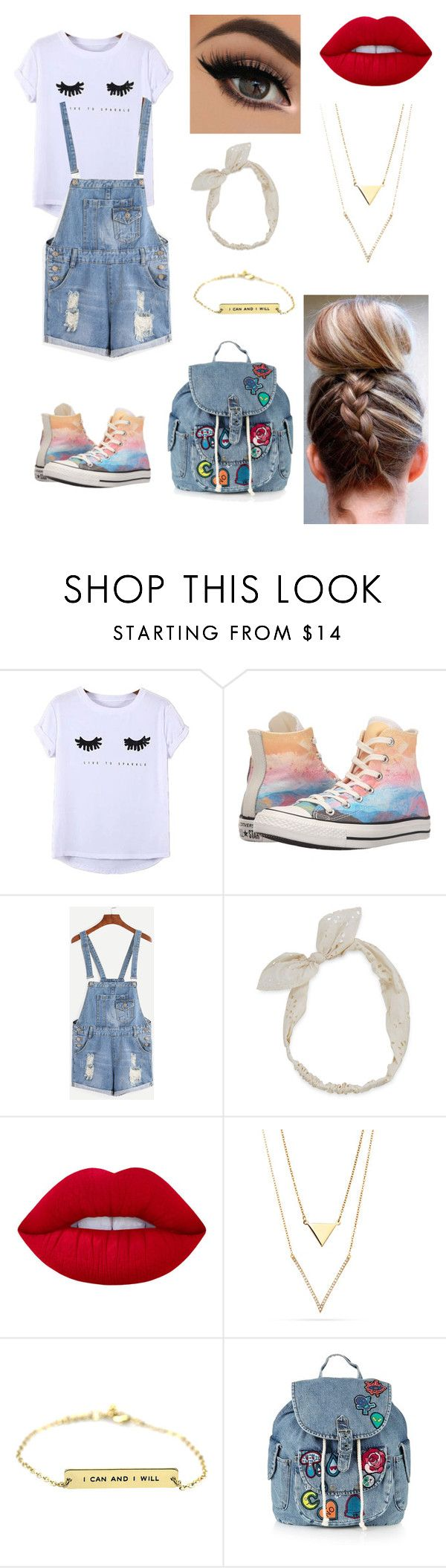 """""""School"""" by paigevjacobs on Polyvore featuring Chicnova Fashion, Converse, Carole, Lime Crime and Topshop"""