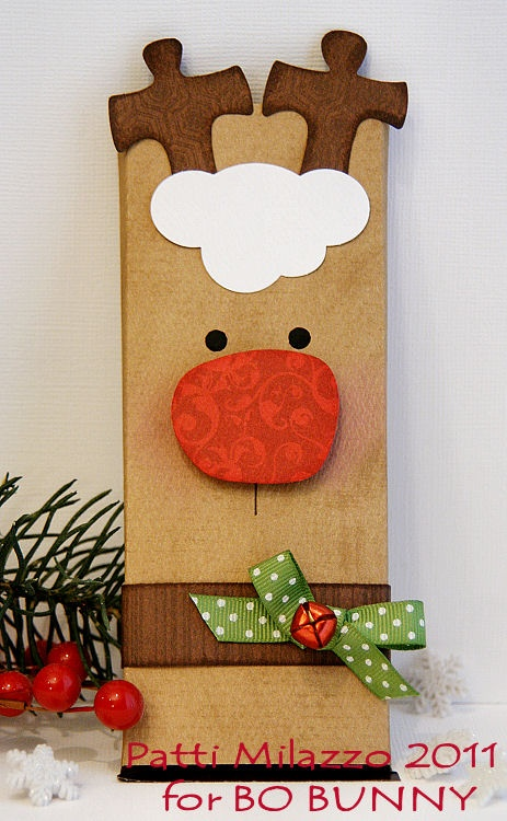 DIY- Rudolph Wrapper for candy bar or bag of popcorn - Made from cardstock and paper punches.