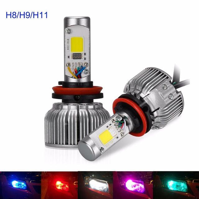 Suparee 2pcs Auto RGB H8 H9 H11 Super Bright LED Car Headlights 12V 80W Multi-color Bluetooth Control Headlamps 6000K