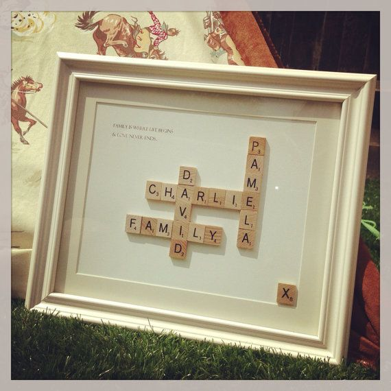 Wedding Gifts For Relatives: Medium Vintage Scrabble Art. Mothers Day Retro, Unique