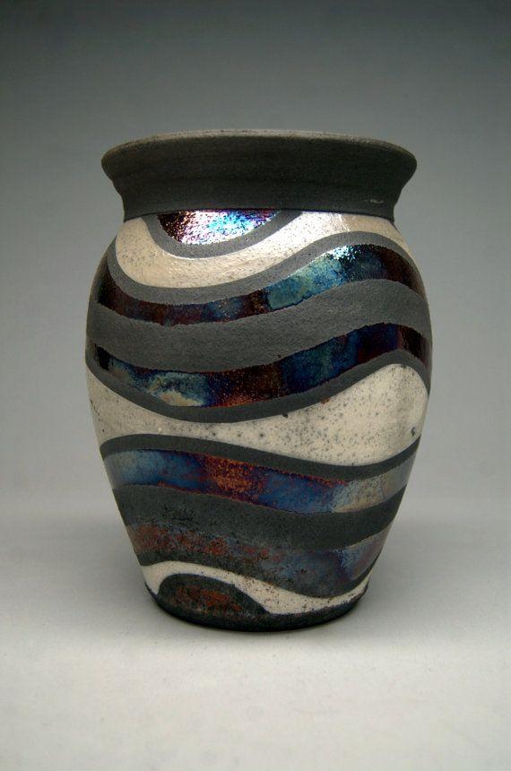 Cloudy Sky  Handmade Raku Vase  Pottery  Gift  Art by clayguyry