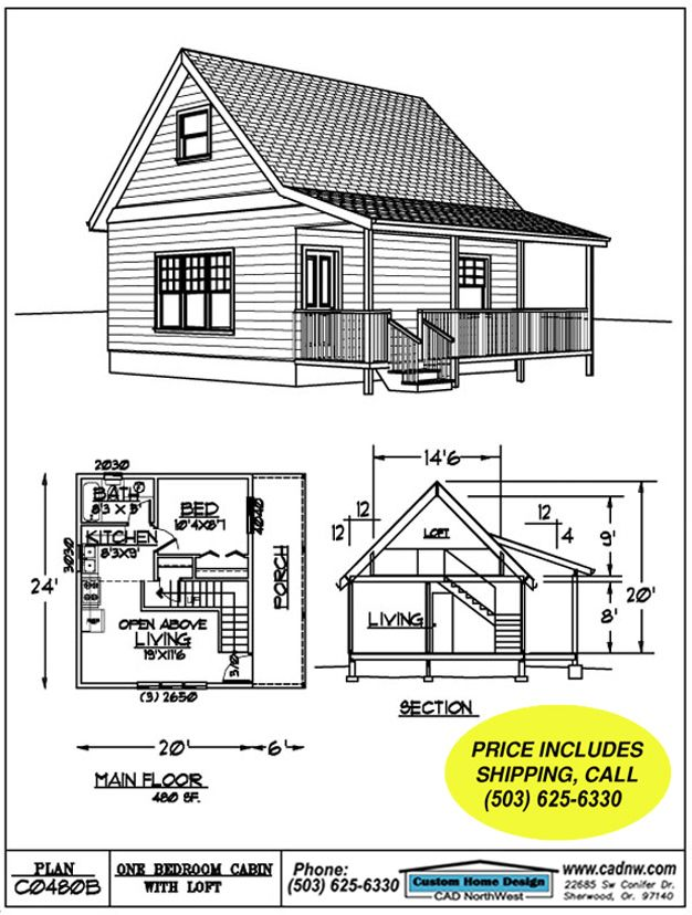 Do It Yourself Home Design: This 480 S.F. 24 By 20 Cabin With Sleeping Loft Is Compact