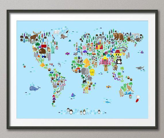 Stunning Tier Karte von der Weltkarte f r Kinder und Kinder Art Print