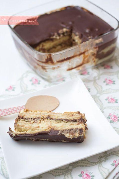 Cómo hacer una tarta de galletas, flan y chocolate super fácil, con vídeo receta paso a paso. Aprende a hacer una sencilla tarta de galletas con receta en vídeo