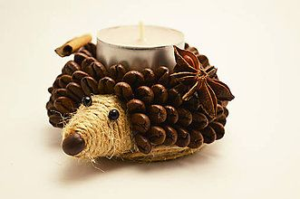 Svietidlá a sviečky - Svietnik- ježko - 6127398_