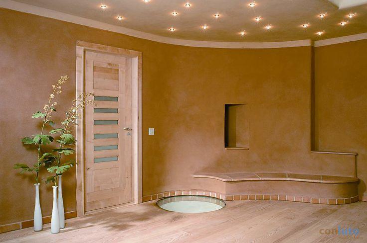CONLUTO gładź gliniana na suficie i na ścianach, centrum medytacyjne Stellshagen/Niemcy http://www.dom-z-natury.pl/gladz_gliniana.html