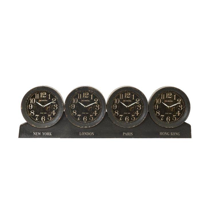 Originale orologio nero in ferro e vetro con 4 quadranti ideale per apportare stile ai vostri ambienti.