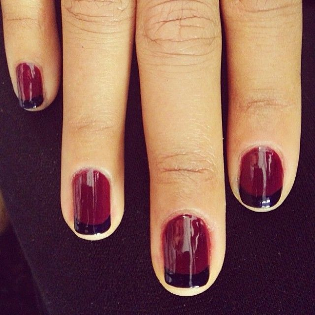Dark red and black French manicure