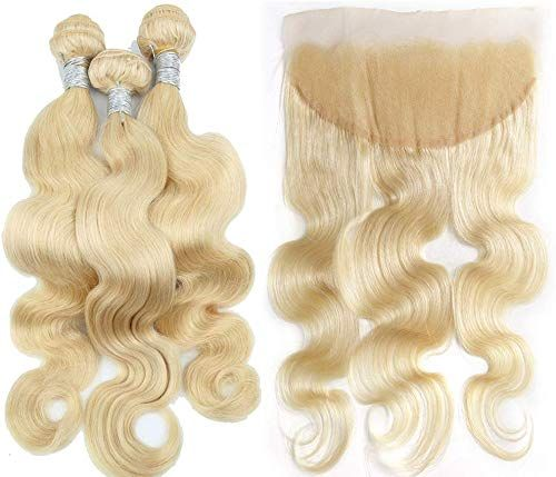 New Fabwigs 613 Blonde Human Hair 3 Bundles Weft With Lace Frontal Body Wave Unprocessed Brazilian Human Hair (10 12 14 Bundle+10 Free Part Frontal) online