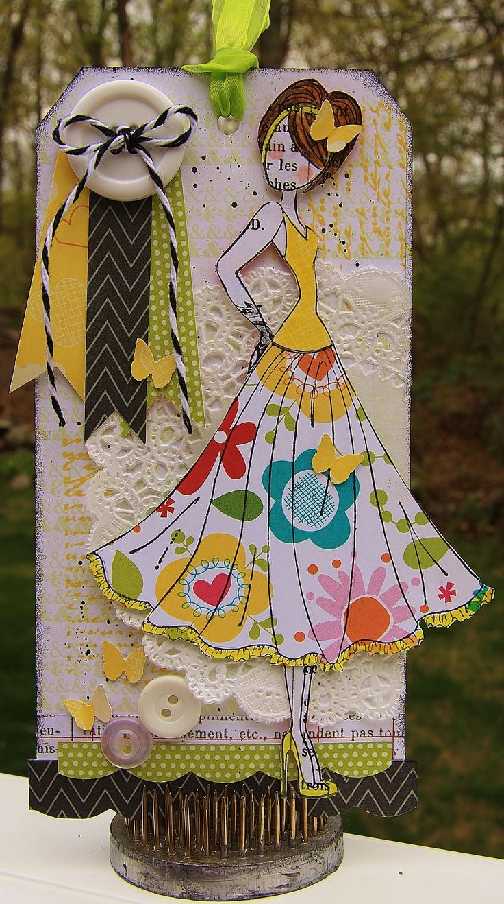Mixed Media Tag using Julie Nutting Doll Stamps prima