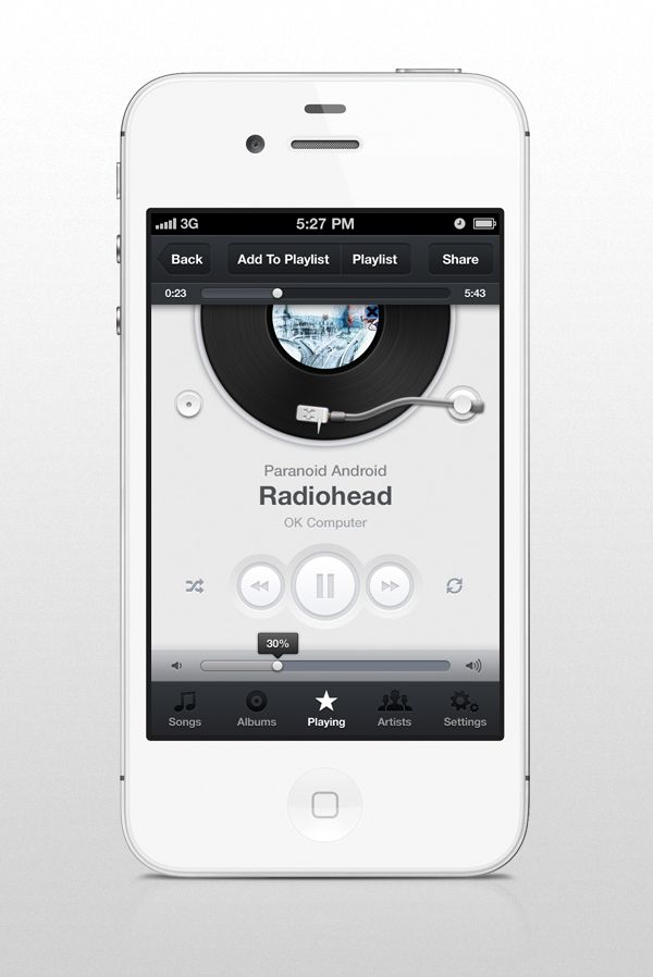 Original image for Music App UI (iPhone) - A snap from piotrkwiatkowski - Forrst | A Community Where Developers & Designers Improve Their Craft